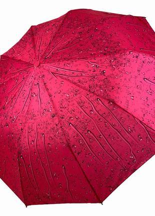 """6 цветов! складной женский зонт полуавтомат """"капли дождя"""" от sl, красный"""