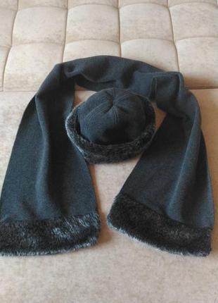 Комплект кашемировая шапка и шарф тёмно-серого цвета,  р.s