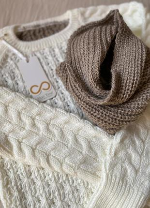 Вязаный молочный белый коричневый кофейный свитер в косы білий светр хомут снуд капучино