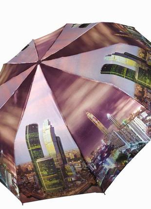 """Есть 6 расцветок! женский зонт полуавтомат """"ночной город"""" от sl, фиолетовый"""
