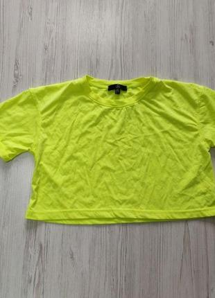 🎈нас 10 тысяч🎈happy sale🎁   ярко желтая укороченная футболка оверсайз