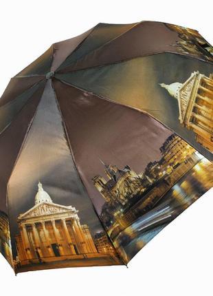 """Есть 6 расцветок! женский зонт полуавтомат """"ночной город"""" от sl, коричневый"""