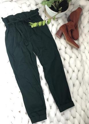 Штаны брюки высокая посадка талия с карманами изумрудные slouchy бананы