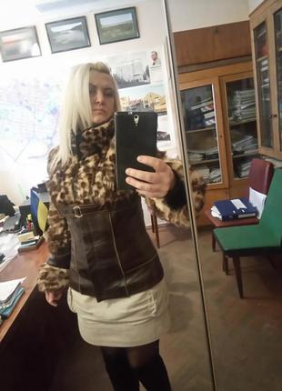 Классная кожаная курточка с мехом!!!!!