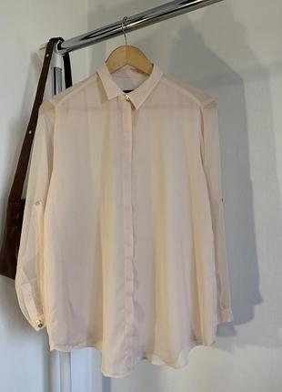Воздушная нежно-розовая рубашка zara