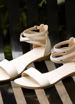 Женские белые босоножки сандалии натуральная кожа