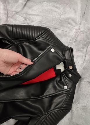 😍950грн новая шикарная кожаная курточка косуха кожанка на худышку h&m xxs-xs