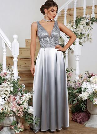 Женское вечернее выпускное атласное платье в пол размеры:s,m,l,xl