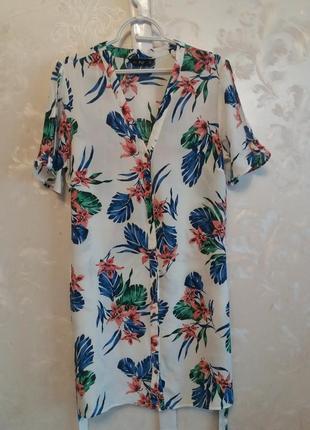 Вискозное платье-рубашка в цветочный принт