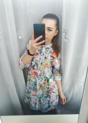 Невероятно красивая удлиненная рубашка туника блузка акварель