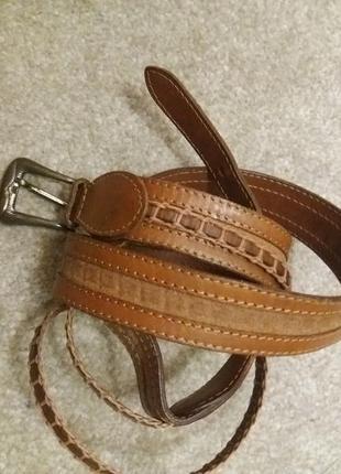 Кожаный коричневый пояс