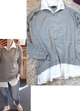 Комфортный  удлинённый свитер 2 в 1,zhenzi, p.m-l