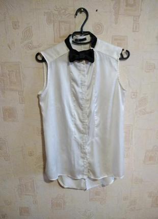 Блуза рубашка удлиненная под шелк с бабочкой