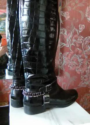 Zara высокие жокейские сапоги с шир.голенищем 40р