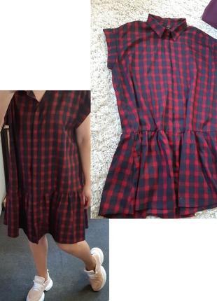 Стильное платье  рубашка в клетку оверсайз, p. 12-16, mbym