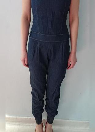 Летний комбинезон без бретелей, легкий джинс, темно-синий р.s