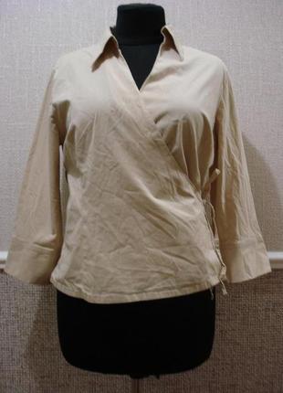 Блузка для офиса с рукавом 3/4 летняя кофточка с запахом