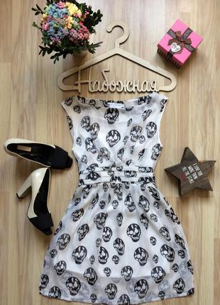 Платье шифоновое с черепками шуга скул