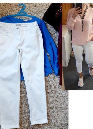 Базовые белые катоновые укороченные брюки, cecil,  p. 8-10