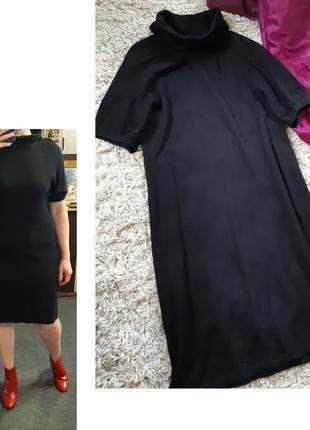 Очень комфортное вязаное черное платье короткий рукавчик кашемир/ангора, public,  p. 38-40