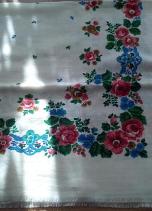 Роскошный платок,шерсть,павлопосадский стиль,84х85