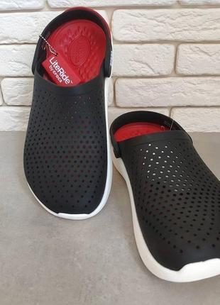 Crocs literide black white3 фото