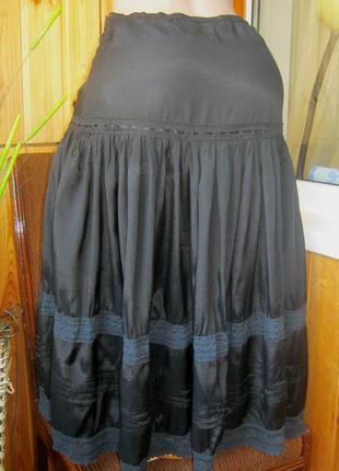 #розвантажуюсь шикарная летняя миди-юбка ярусная с вышивкой и кружевом
