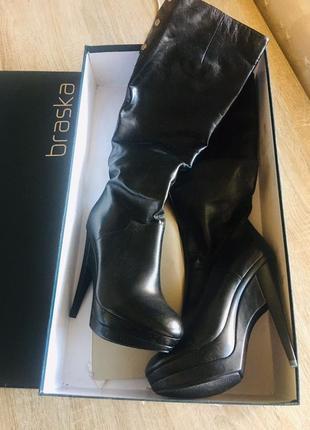 Сапоги чоботи braska чёрные кожа натуральная размер 39 чоботи осень осенние