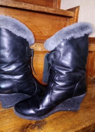 Зимние сапожки, кожаные, очень теплые