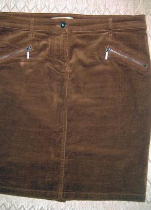 Юбка next вельвет коричневая