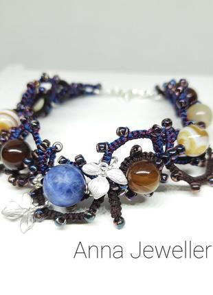 Плетеный браслет ручной работы с натуральными камнями украшения фриволите
