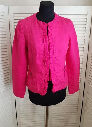 Розовый льняной пиджак жакет maddison