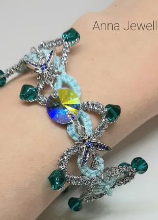 Плетеный браслет ручной работы с кристаллом сваровски украшения фриволите