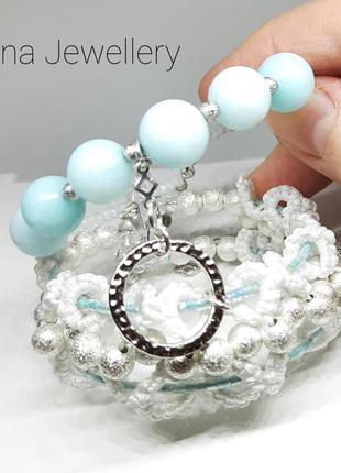 Плетеный браслет ручной работы с натуральными камнями амазонит украшения фриволите