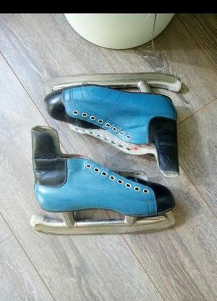 Коньки ботинки для катания хоккея кожа синие черные
