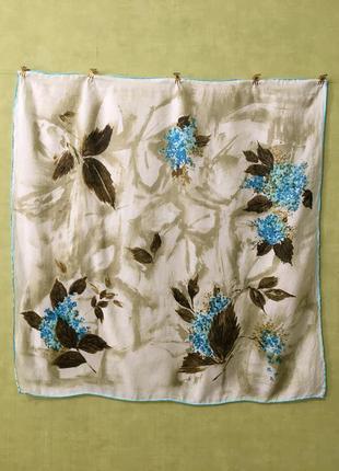 Платок винтаж голубые цветы