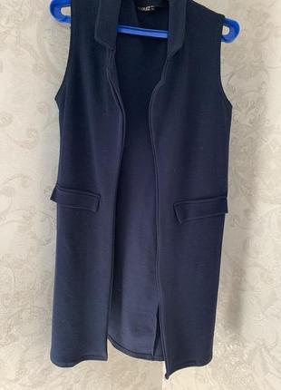 Синий удлиненный жилет