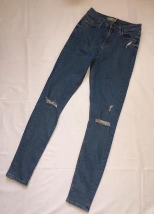 Скинни завышенные джинсы синие брюки с дырками штаны топшоп