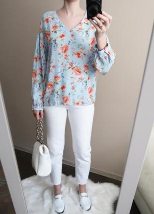 Блузка из вискозы с воздушными рукавами в красивый цветочный принт / 100% вискоза