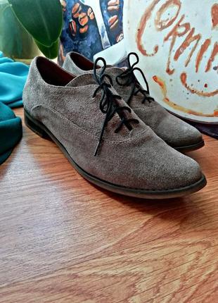 Женские крутые качественные натуральные замшевые туфли оксфорды - размер 38
