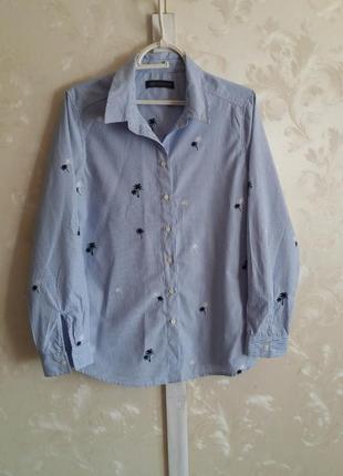 Рубашка в мелкую полоску с вышивкой