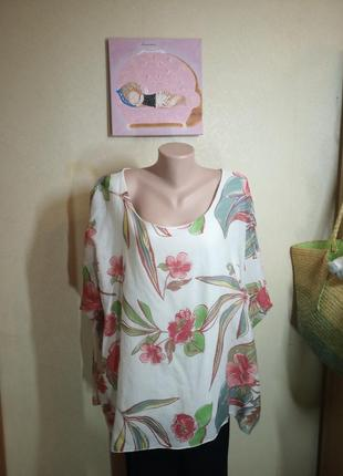 Свободная блуза с цветочным принтом большого размера италия