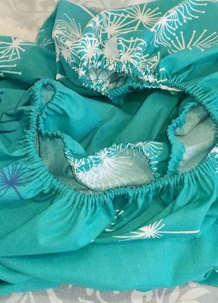Односпальная простыня на резинке из ранфорса - одуванчики, все размеры, быстрая отправка