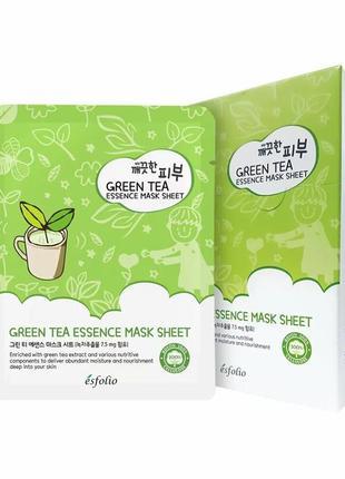Маска тканевая для лица esfolio pure skin green tea essence mask sheet с зеленым чаем