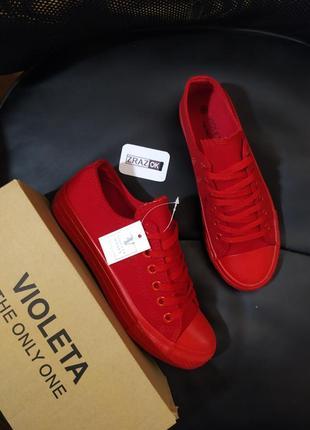 Акция!красные кеды кроссовки мокасины конверсы слипоны мокасины