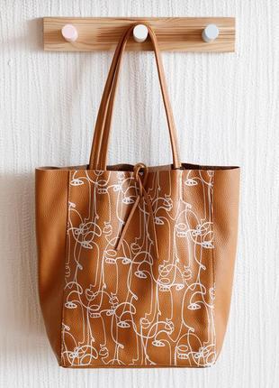 Итальянская рыжая кожаная сумка шоппер с орнаментом, borse in pelle италия