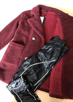 Крутая шуба бордовая текстиль. эко шуба