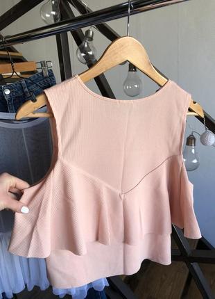 Вафельный топ майка блуза футболка с рюшами бахромой zara