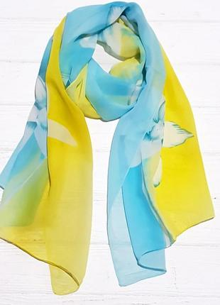 Шарф шифоновый цветок,желтый/голубой