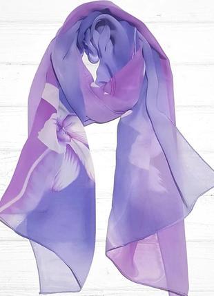 Шарф шифоновый цветок лавандовый